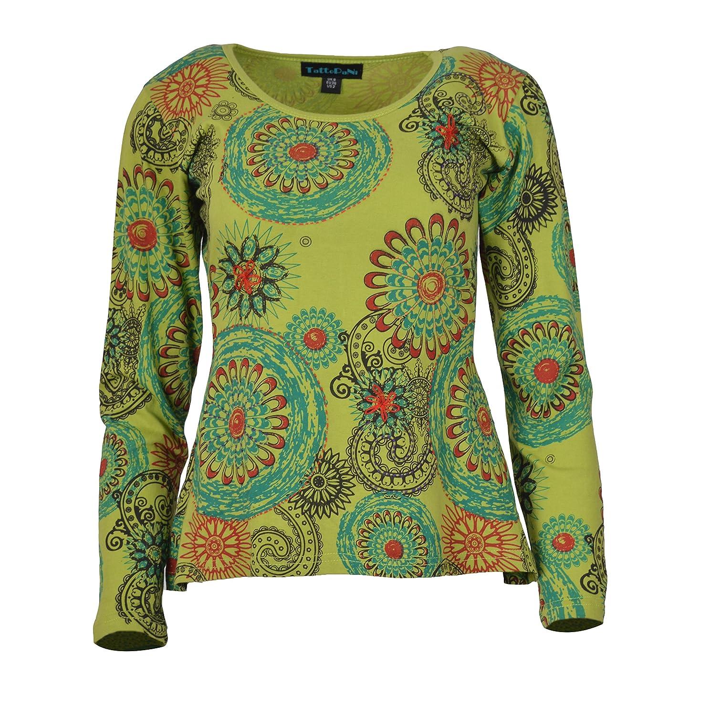 Camiseta de Manga Larga con Estampado Floral de algodón de Las ...