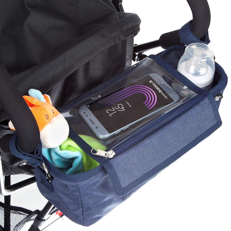 Plus 2 clips de poussette gratuits Un accessoire incontournable pour landau housse de pluie Organisateur BTR pour landau ou poussette housse /à rabat /étanche exclusive pour t/él/éphone portable sac de rangement pour poussette