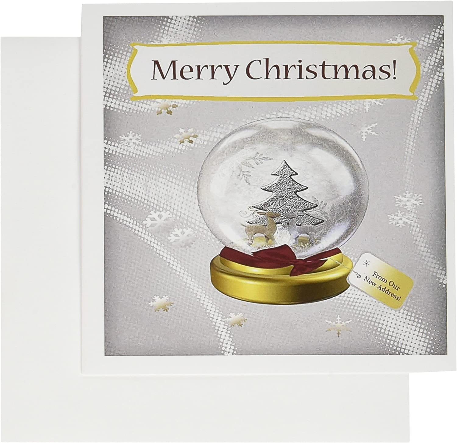"""3dRose Snow Globe, Merry Christmas From Our New Address Greeting Cards, 6"""" x 6"""", Set of 12 (gc_130915_2)"""