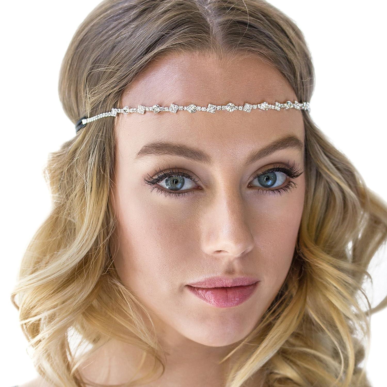 Amazon.com   Silver Crystal Rhinestone Headpiece with Elastic ... 868086ef80c
