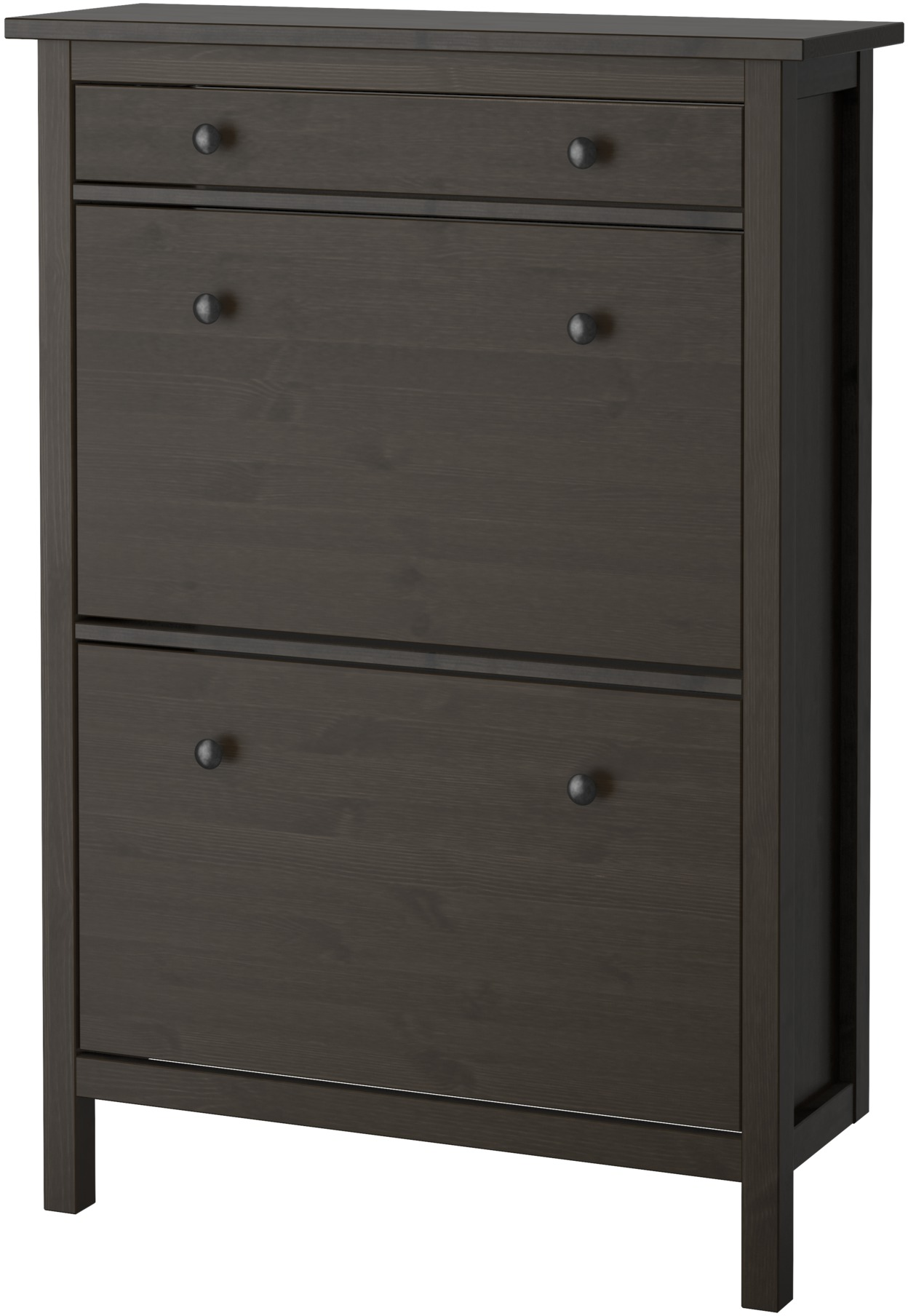HEMNES Shoe cabinet with 2 compartments - black-brown - IKEA