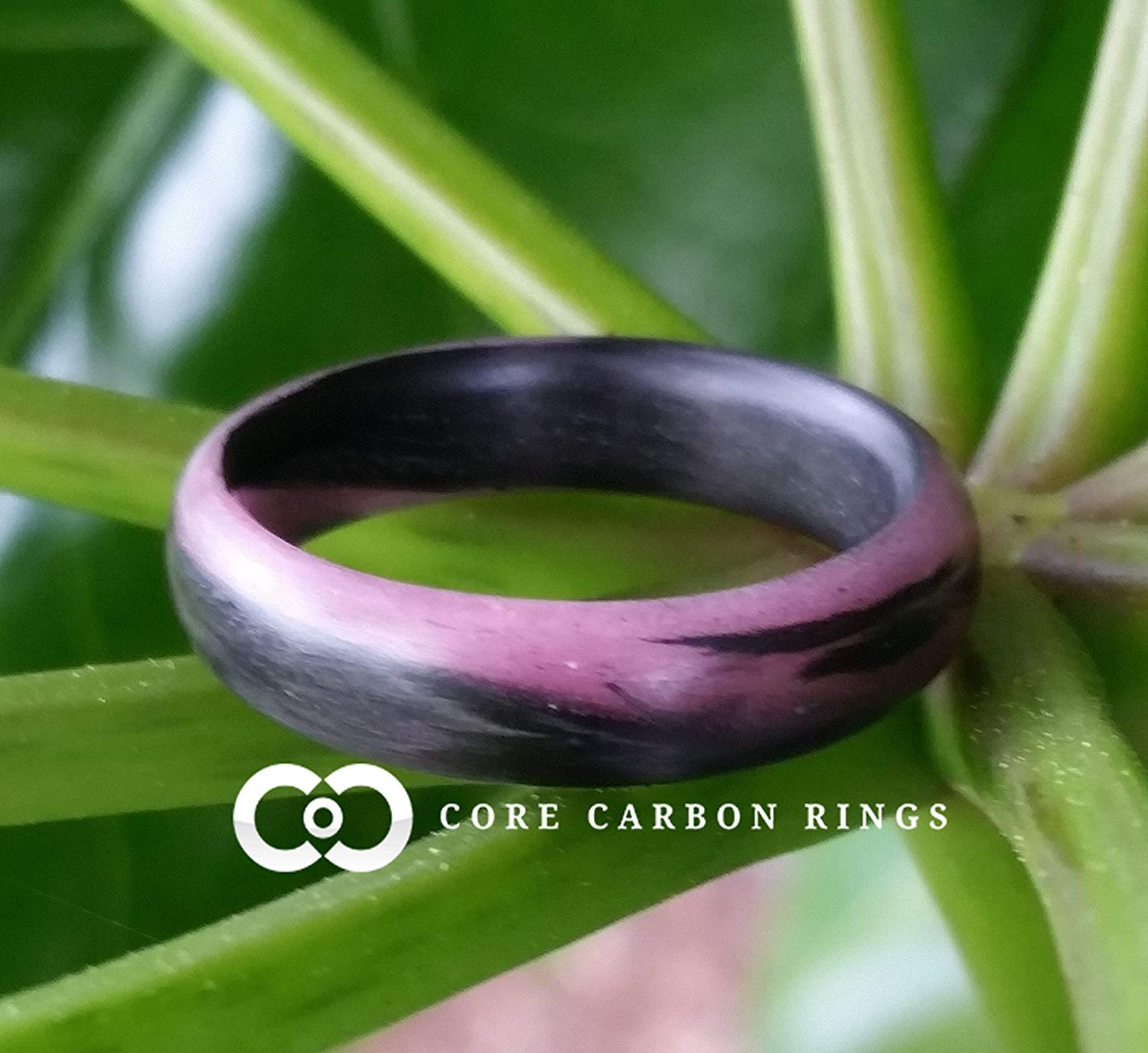 Black and Pink Glowing Band Mens or Womens Carbon Fiber Pink Marbled Glow Ring Handcrafted Custom Band widths