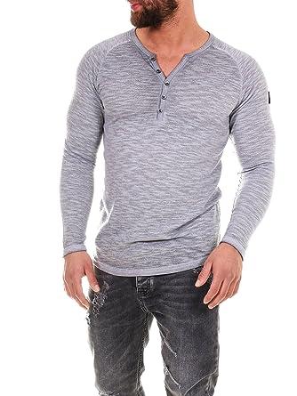 COEN BALE Herren T-Shirt Feinstrick Pullover Pulli Langarm Regular Fit  Rundhals mit Knopfleiste Aus