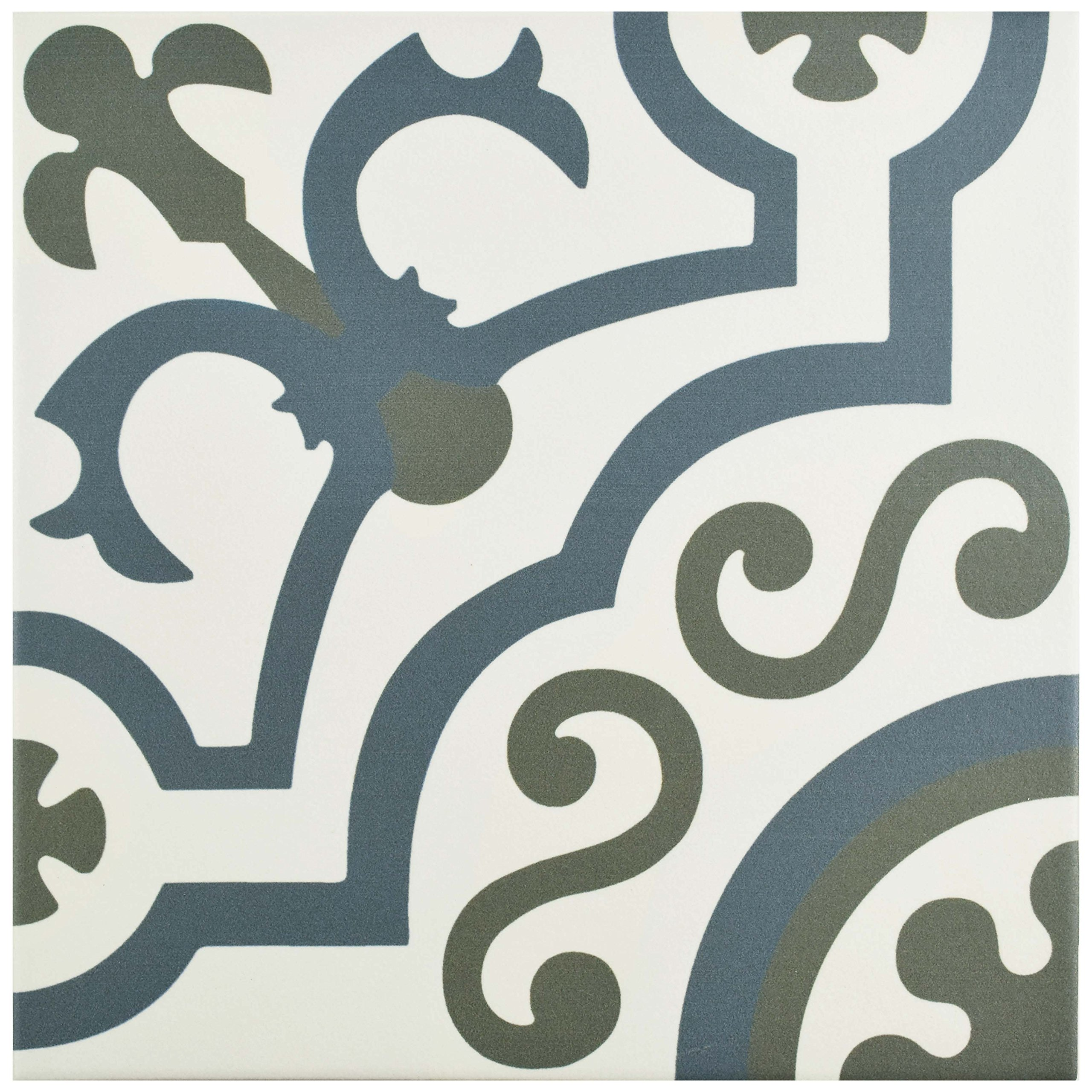 SomerTile FCD10HDU Hydro Ducados Porcelain Floor and Wall Tile, 9.75'' x 9.75'', White/Blue/Grey by SOMERTILE