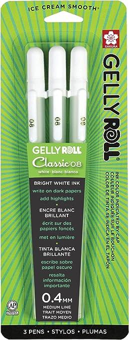 WHITE Gel Ink Pen Sakura Gelly Roll Medium Point Archival Quality Waterproof Ice