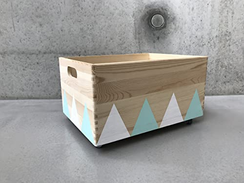 Caja de Juguete de Madera Blanco Turquesa - Triángulo Escandinavo ...