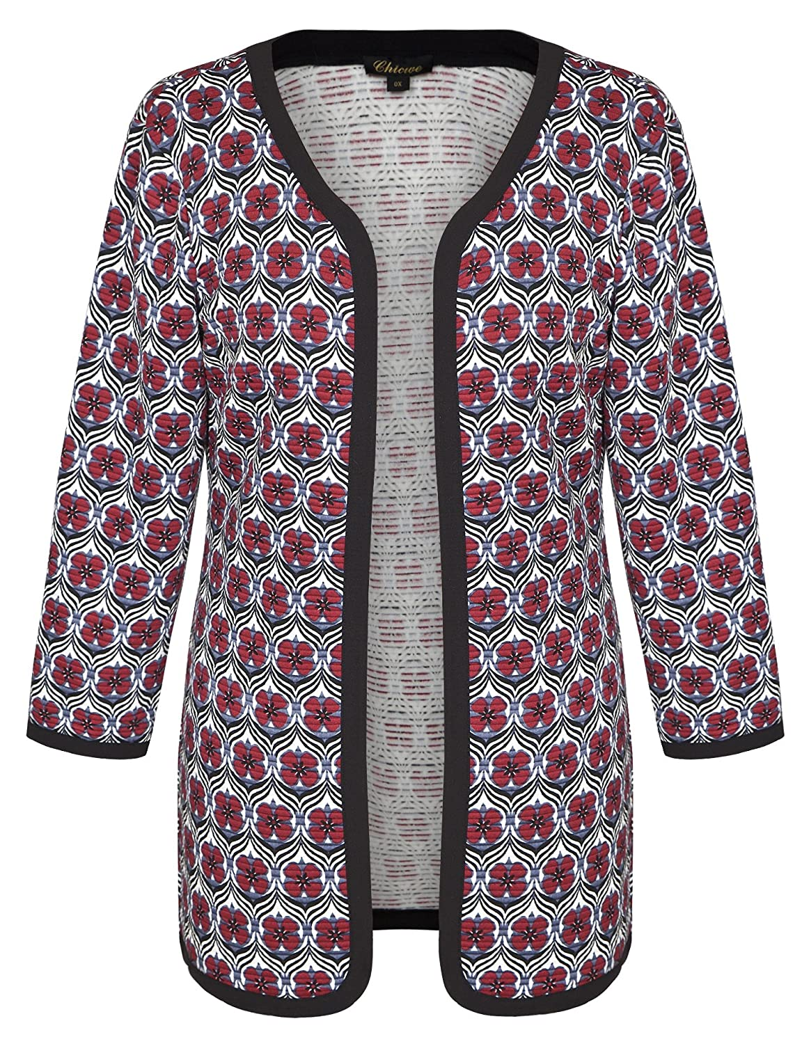 Chicwe Women's Floral Quilted Light Weight Plus Size Cardigan Jacket 1X-4X C17C126