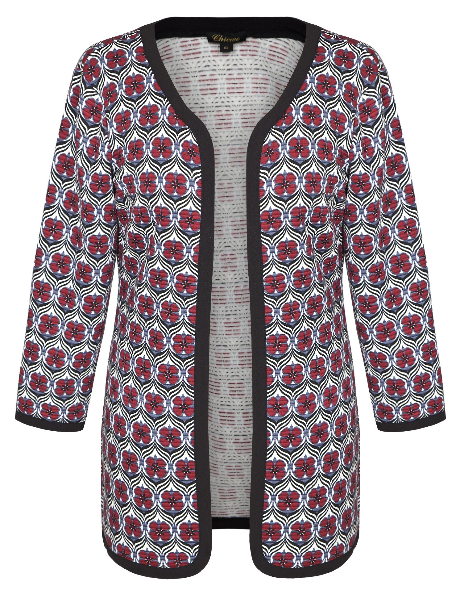 Chicwe Women's Floral Quilted Plus Size Jacket Cardigan Cherry Red 4X