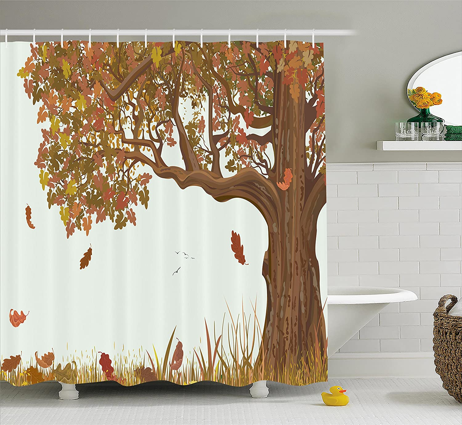 Ambesonne Tree of Life Shower Curtain, Autumn Season Fall Shady Deciduous Oak Leaves in Park Countryside Artwork, Fabric Bathroom Decor Set with Hooks, 70 Inches, Umber Redwood