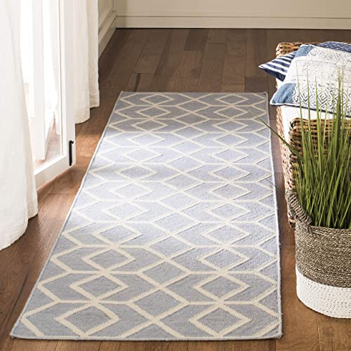 Safavieh Dhurries Collection DHU560A Hand Woven Blue and Ivory Premium Wool Runner 2 6 x 8