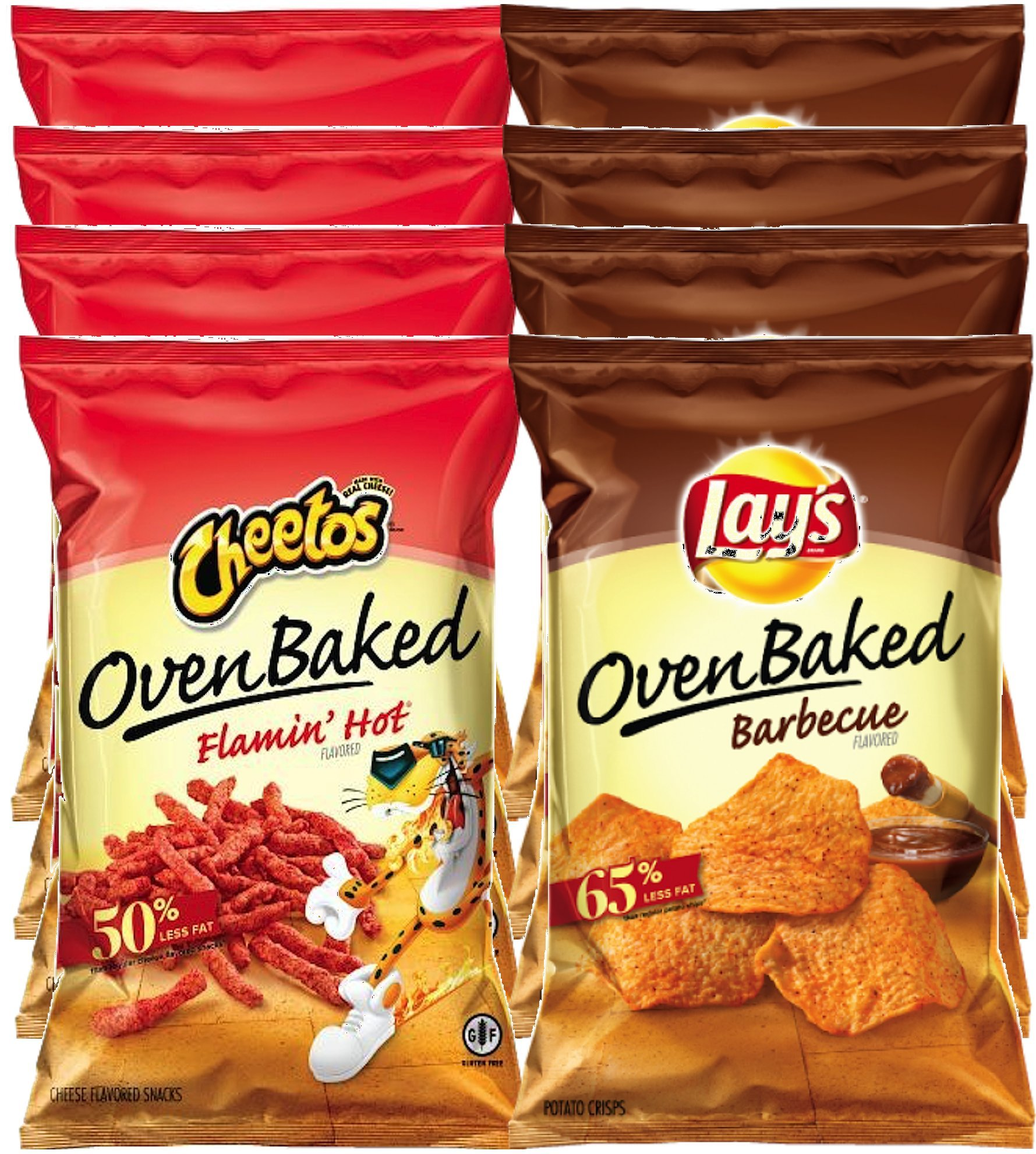 Cheetos Oven Baked Flamin' Hot & Lays Oven Baked Barbecue Less Fat More Flavor Snack Care Package for College, Military, Sports (Pack Of 8)