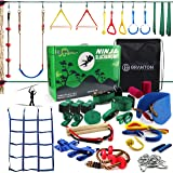 Ninja Warrior Obstacle Course for Kids - 2 X Ninja Slackline 50' with 10 Accessories for Kids, Swing, Obstacle Net Plus Grip