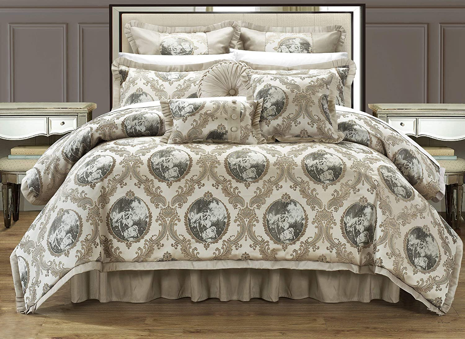 Amazon Com Chic Home 9 Piece Romeo And Juliet Decorator Upholstery Comforter Set With Pillows Ensemble King Beige Home Kitchen