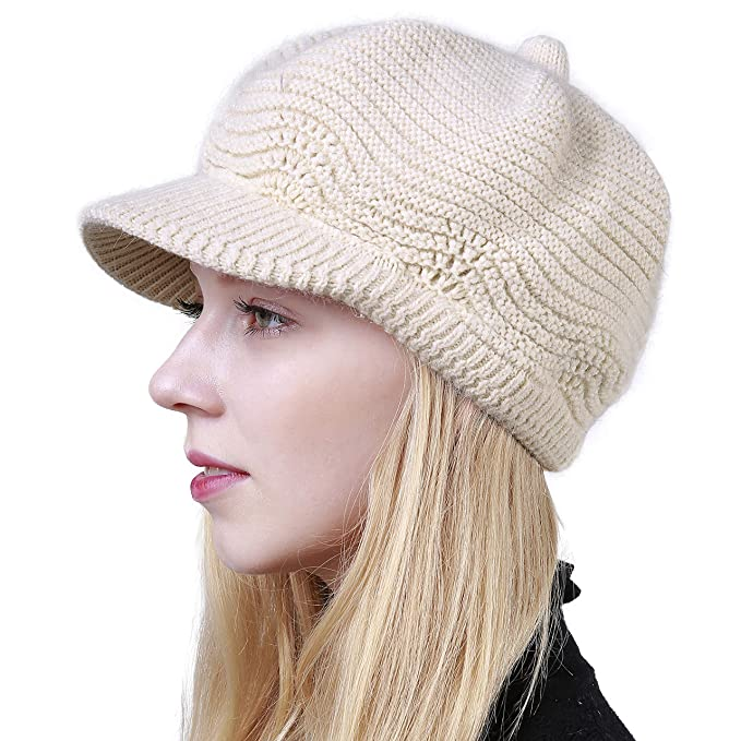 Women s Winter Hat Slouchy Cable Knit Visor Crochet Beanie Hats Warm Snow  Ski Skull Cap with a07556aa0
