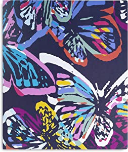 Vera Bradley 3 Ring Binder with Flexible Plastic Cover, Includes Binder Dividers and Sticker Labels, Butterfly Flutter