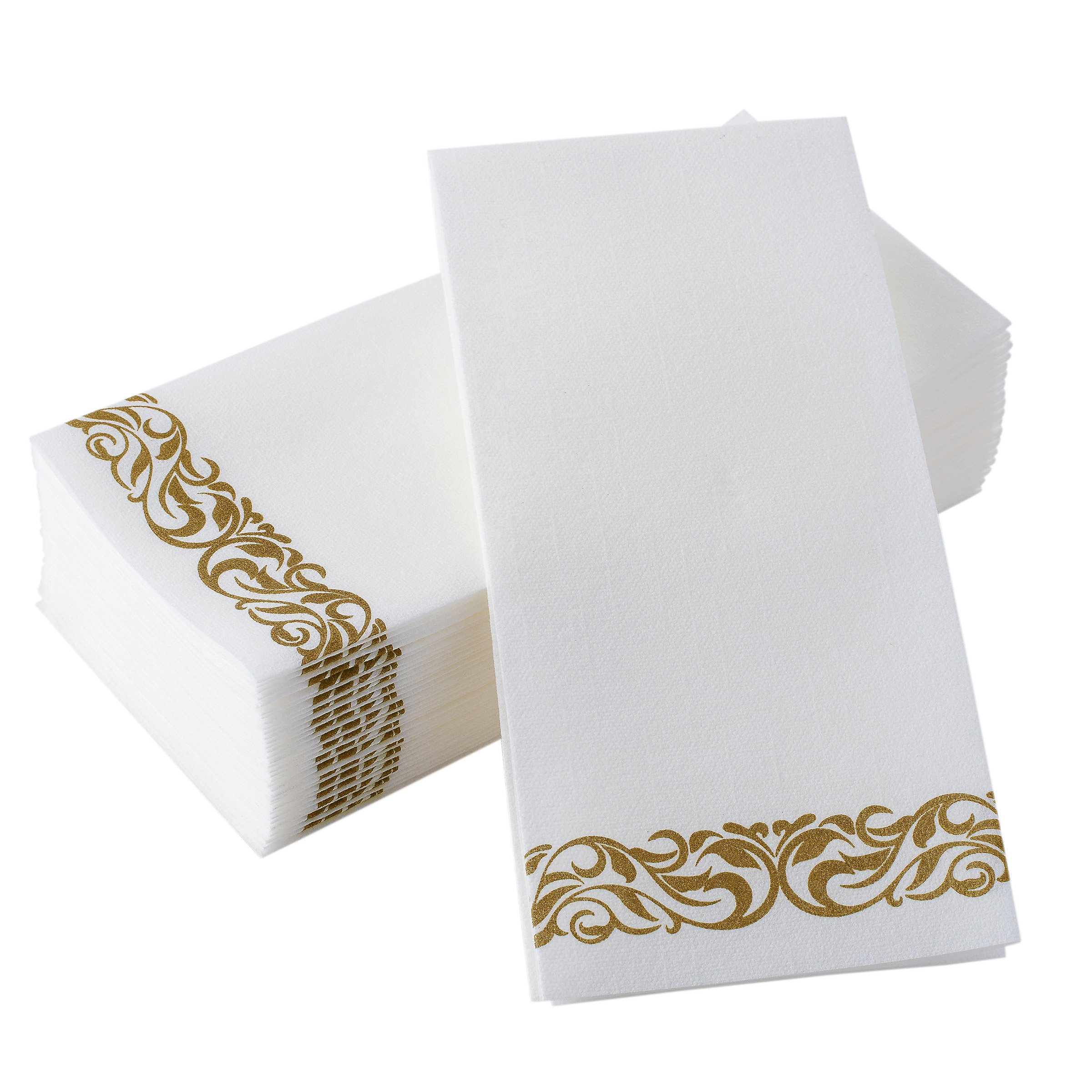 Bloomingoods Disposable Linen-Feel Guest Towels - Decorative White Hand Towels, Gold Floral Cloth-Like Paper Napkins - Case of 1000 (Bulk Packaging)