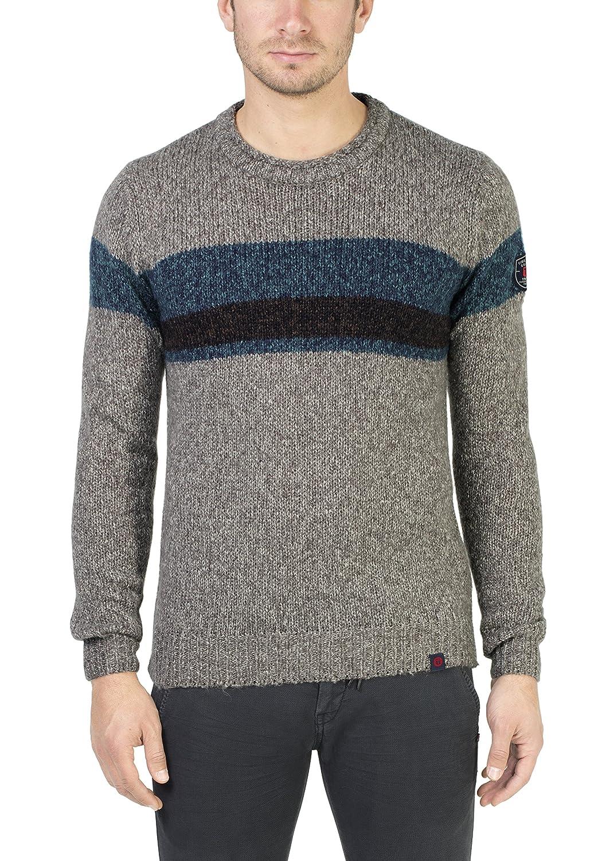 TALLA L. Timezone Colourblock Crew suéter para Hombre