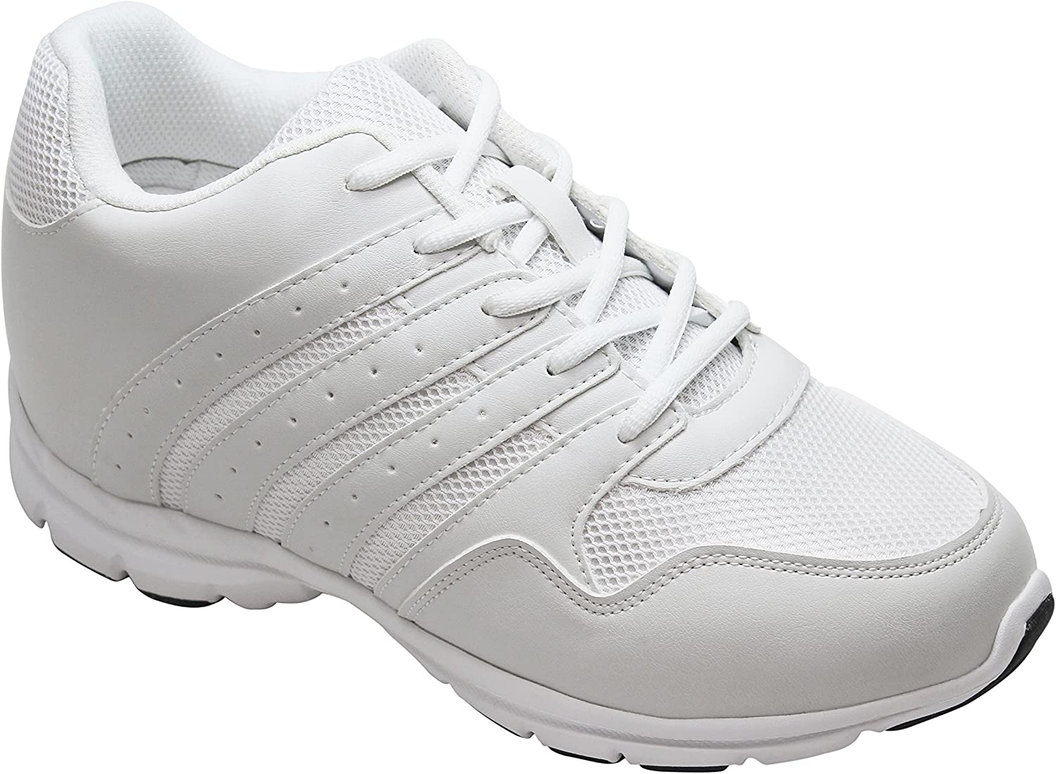 White Leather/Mesh Lace-up Lightweight