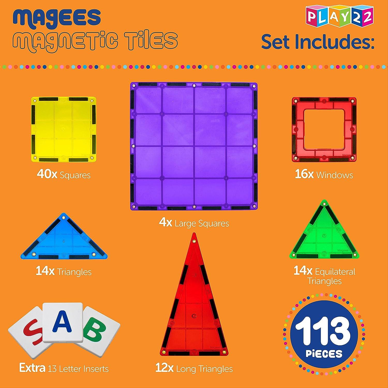 Original Magees Magnetic Tiles Includes Bonus 13 Piece Insert Alphabet Cards MAGEES Magnetic Building Blocks 100 Set Magnet Toys Building Strongest Magnets STEM 3D Magnet Tiles