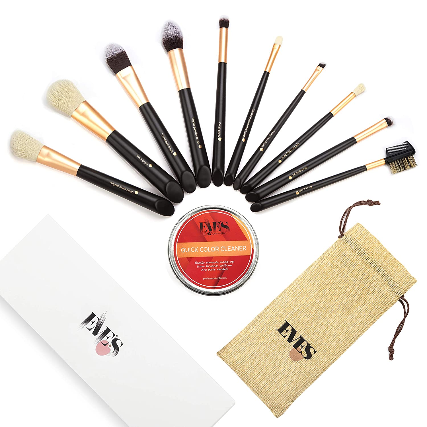 High Quality Premium Professional Cruelty-Free Synthetic 10pc Make Up Brush Set/Kit with Cosmetic Brush Color Remover/Cleaner and Travel Case-Incl. Foundation, blush,eyeshadow,contour,blender brushes & more EAQ UNLIMITED