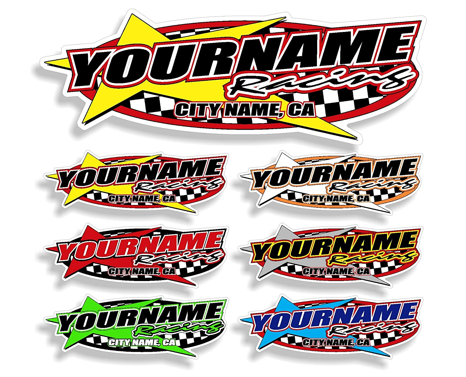 Amazon com custom your team name racing trailer decals your name trailer stickers multiple color size options automotive