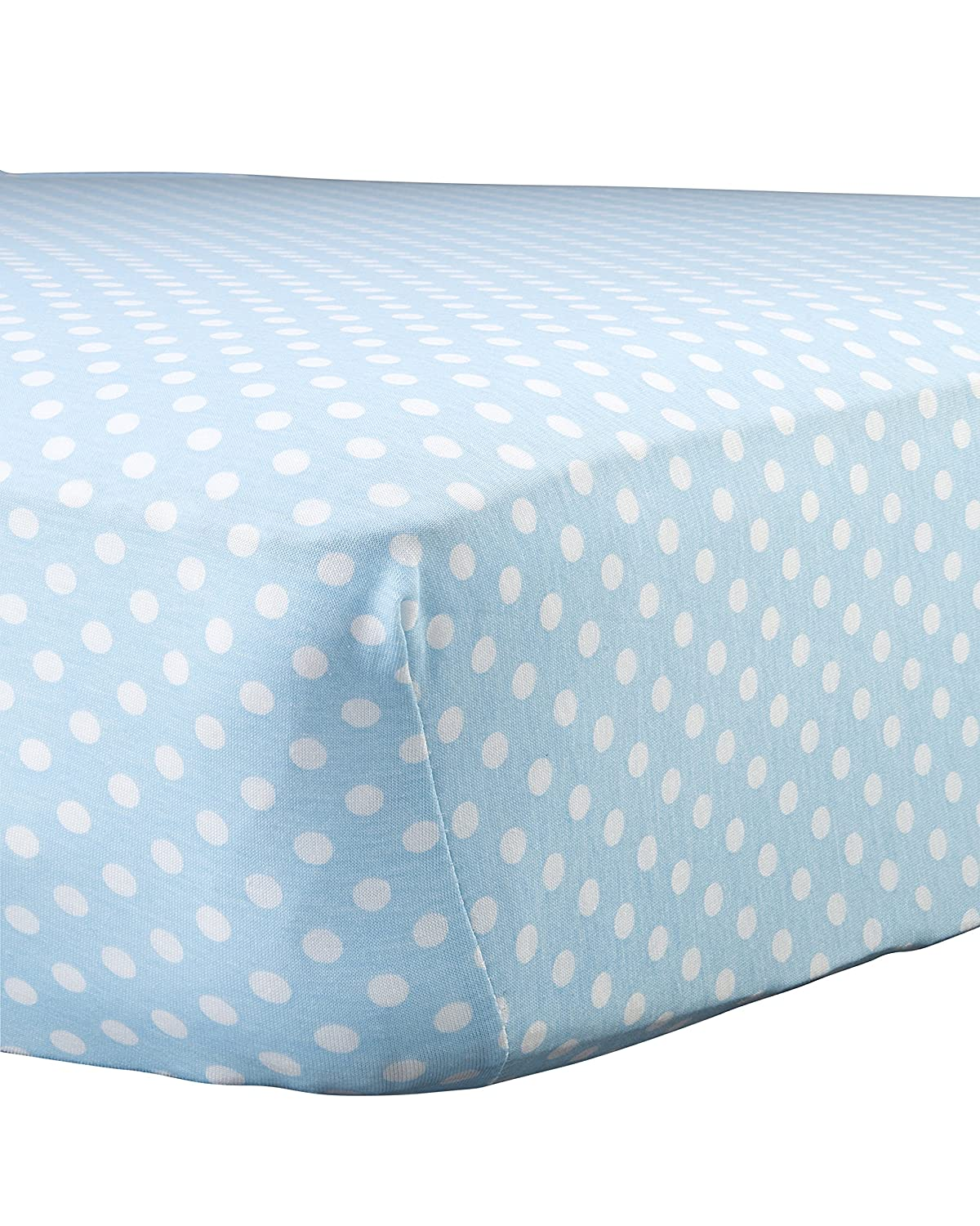 Abstract Baby Polka Dot Print Extra Deep Fitted Jersey Crib Sheet (24 x 38, Blue) by Abstract   B00SIZOGK4