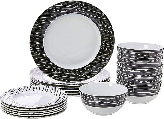 AmazonBasics 18-Piece Kitchen Dinnerware Set, Plates, Dishes, Bowls,  Service for 6, Sketch