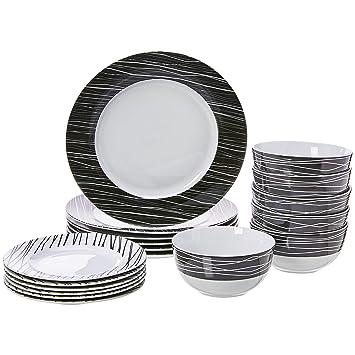 AmazonBasics 18-Piece Kitchen Dinnerware Set, Dishes, Bowls, Service for 6,  Sketch