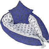 nido bebe recien nacido - reductor de cuna nidos para bebes cojin colecho Azul blanco 90 x 60 cm