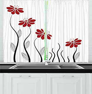 Amazon lake house decor kitchen curtains by ambesonne ambesonne flower decor kitchen curtains floral petals with striped leaves and lines modern geometric design solutioingenieria Images