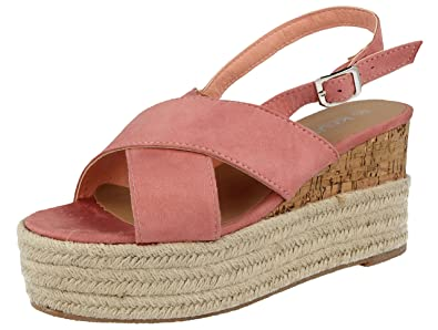 c18523c6e59 Ladies Faux Suede Cross Over Open Toe Fashion Raffia Cork Low Wedge  Flatform Espadrille Sling Back