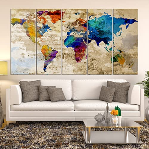 Amazon modern large abstract rainbow colorful wall art world modern large abstract rainbow colorful wall art world map canvas print for wall decor wall gumiabroncs Images