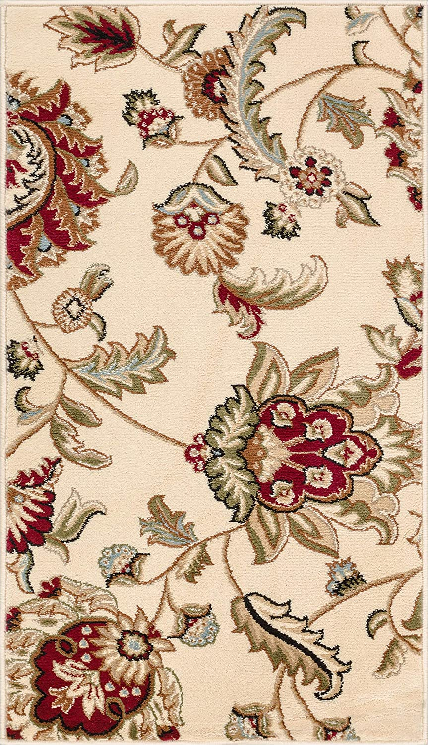 """Well Woven Grand Garden Ivory Floral Oriental Modern Formal Area Rug 2x4 (2'3"""" x 3'11"""") Easy to Clean Stain Fade Resistant Shed Free Traditional Transitional Soft Living Dining Room Rug"""