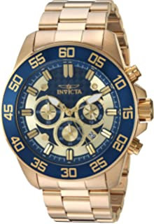 Invicta Mens Pro Diver Quartz and Stainless Steel Casual Watch, Color:Gold