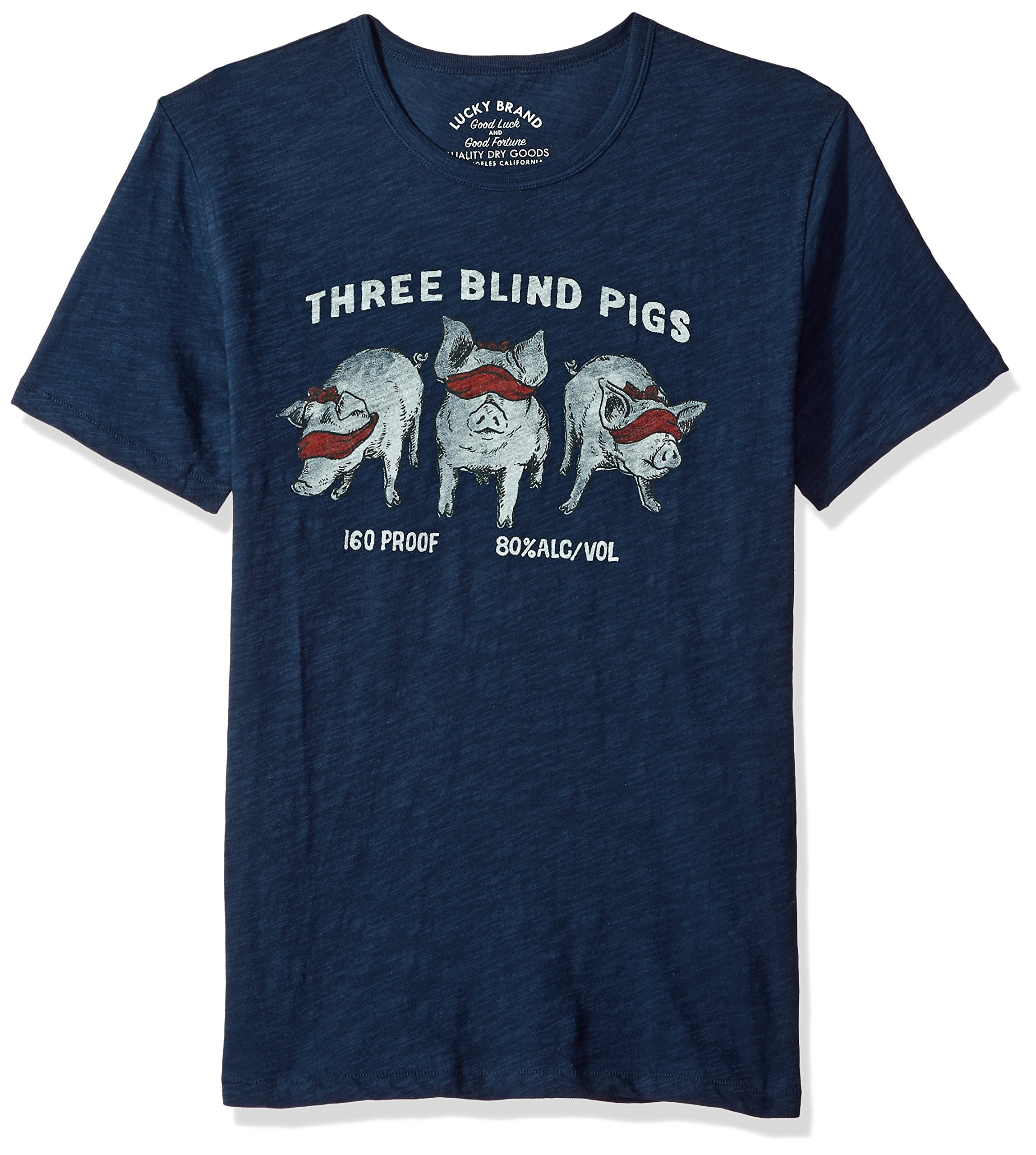 Lucky Brand Men's Three Blind Pigs Graphic Tee, American Navy, L