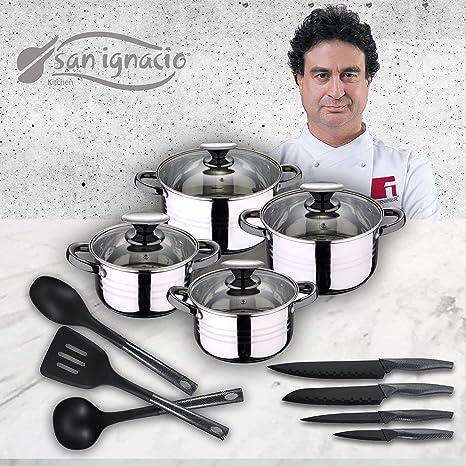 San Ignacio Premium Set de Bateria 8 Piezas + 4 Cuchillos 3 Utensilios de Cocina, Gris