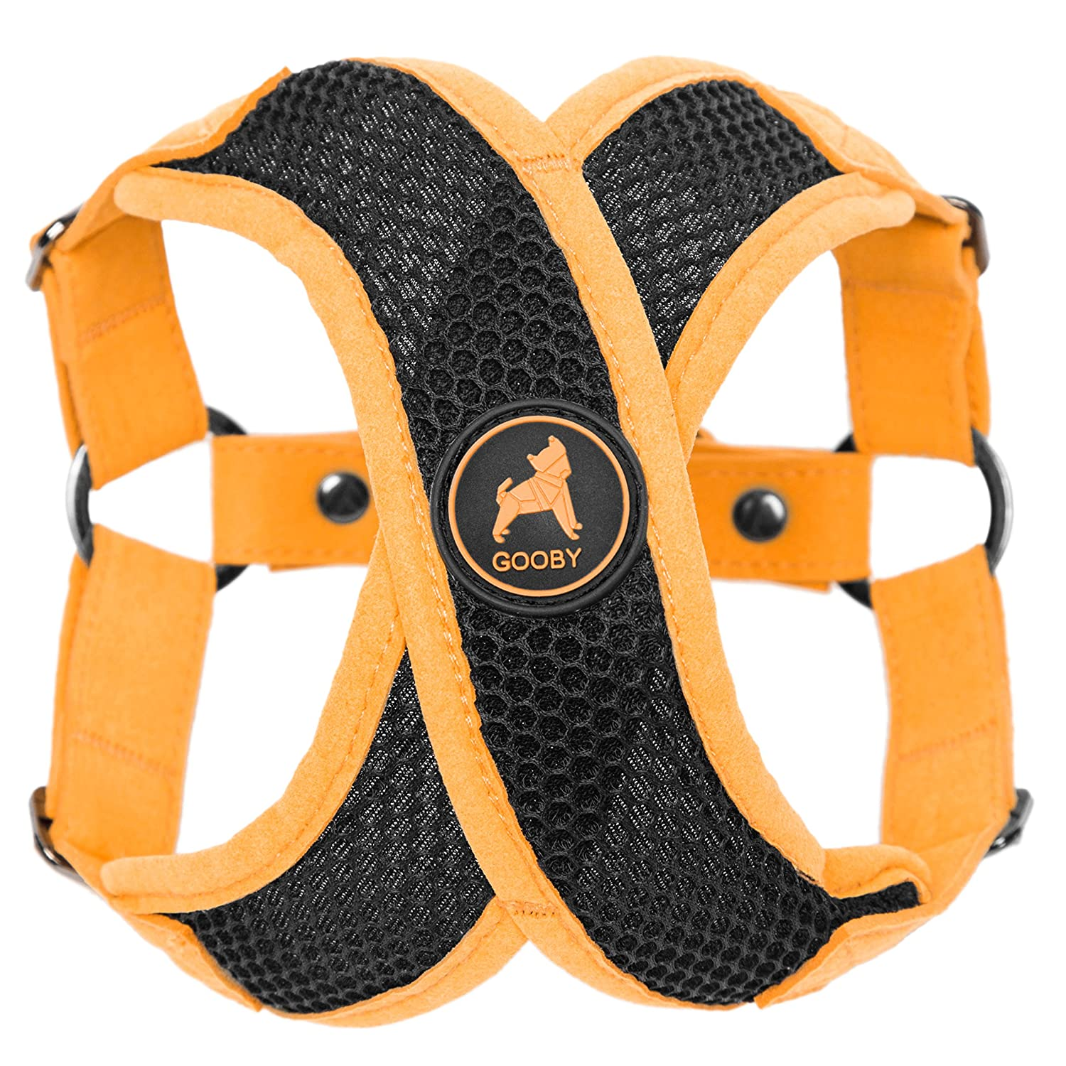 GOOBY Choke Free Active X Step-in Synthetic Lambskin Soft Harness for Small Dogs, orange, Large