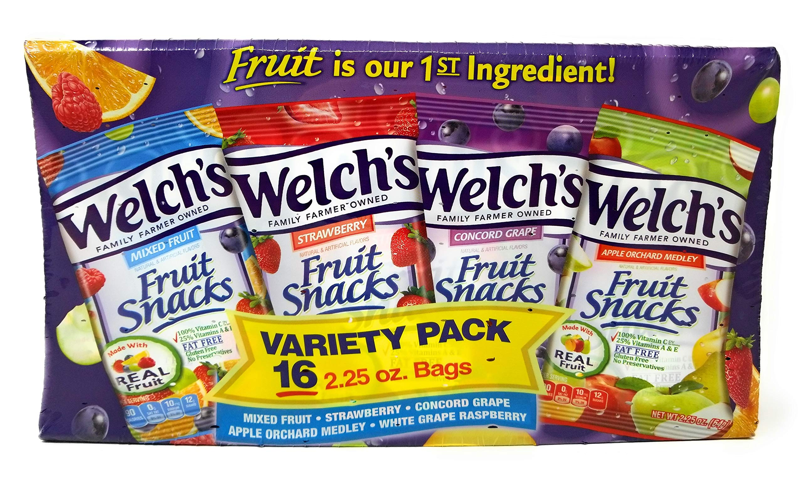 Welch's Variety Pack Bags of Fruit Snacks -  5 flavor 16 pack, 2.25 oz by Welch (Image #1)