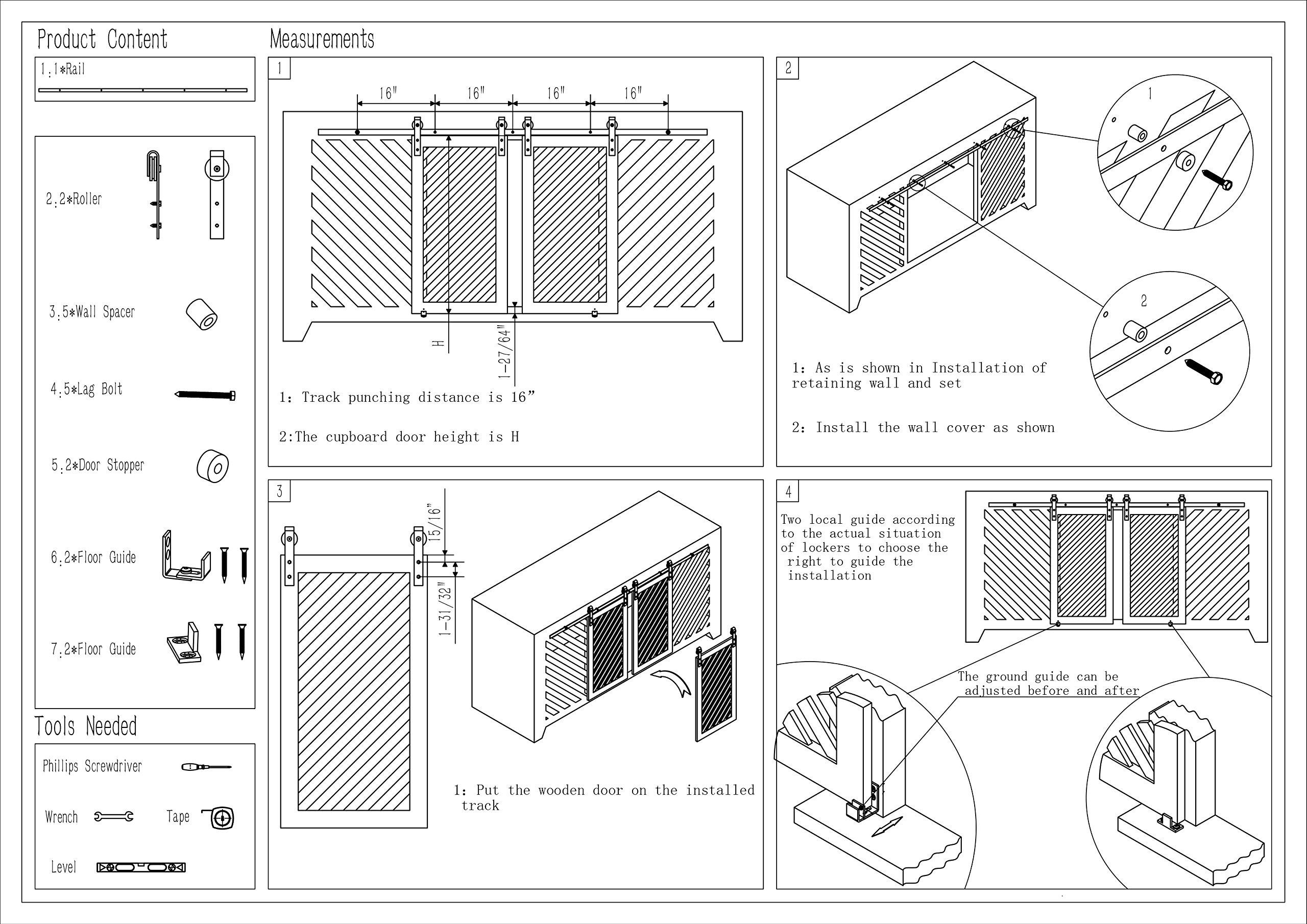 DIYHD 70'' Stainless Steel Mini Strap Cabinet Brushed Barn Door Hardware To Hang 2 Door(No cabinet)