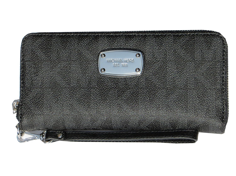 b58164bcdc1f Amazon.com: Michael Kors Jet Set Item Travel Continental Signature MK PVC  Wallet Black: Shoes