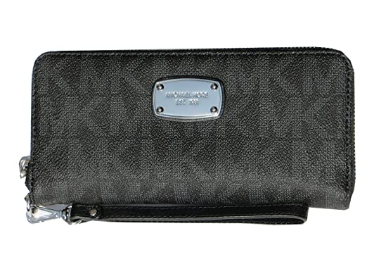 cdb595ac8784 Michael Kors Jet Set Item Travel Continental Signature MK PVC Wallet Black