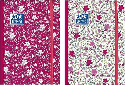 Oxford Floral - Pack de 5 cuadernos cosidos, tapa extradura: Amazon.es: Oficina y papelería