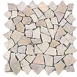 Divero 9 Matten 33 x 33cm Marmor Naturstein-Mosaik Fliesen für Wand Boden Bruchstein beige rosa