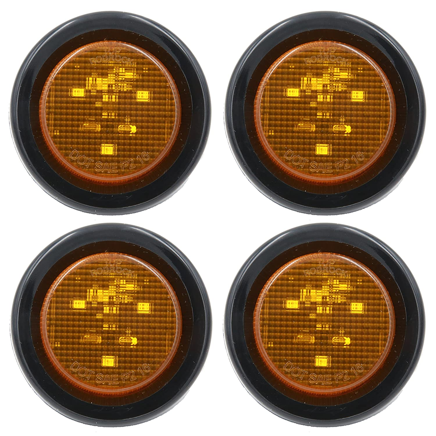"""2' """" PEAKTOW Round LED Submersible Marker Lights Front Side Rear Marker Indicators. Light for Car, Truck, Van, Trailer, RV, Boat, Taillight Brake Stop Lamp 12V with Grommets and Plugs (4pcs Amber) PeakTow Trailer Parts"""