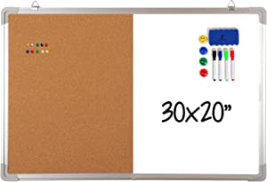 """Combination Whiteboard Bulletin Board Set - Dry Erase/Cork Board 30 x 20"""" + 1 Magnetic Dry Eraser, 4 Markers, 4 Magnets and 10 Pins - Big Combo Tack White Board for Home Office Cubicle Desk"""