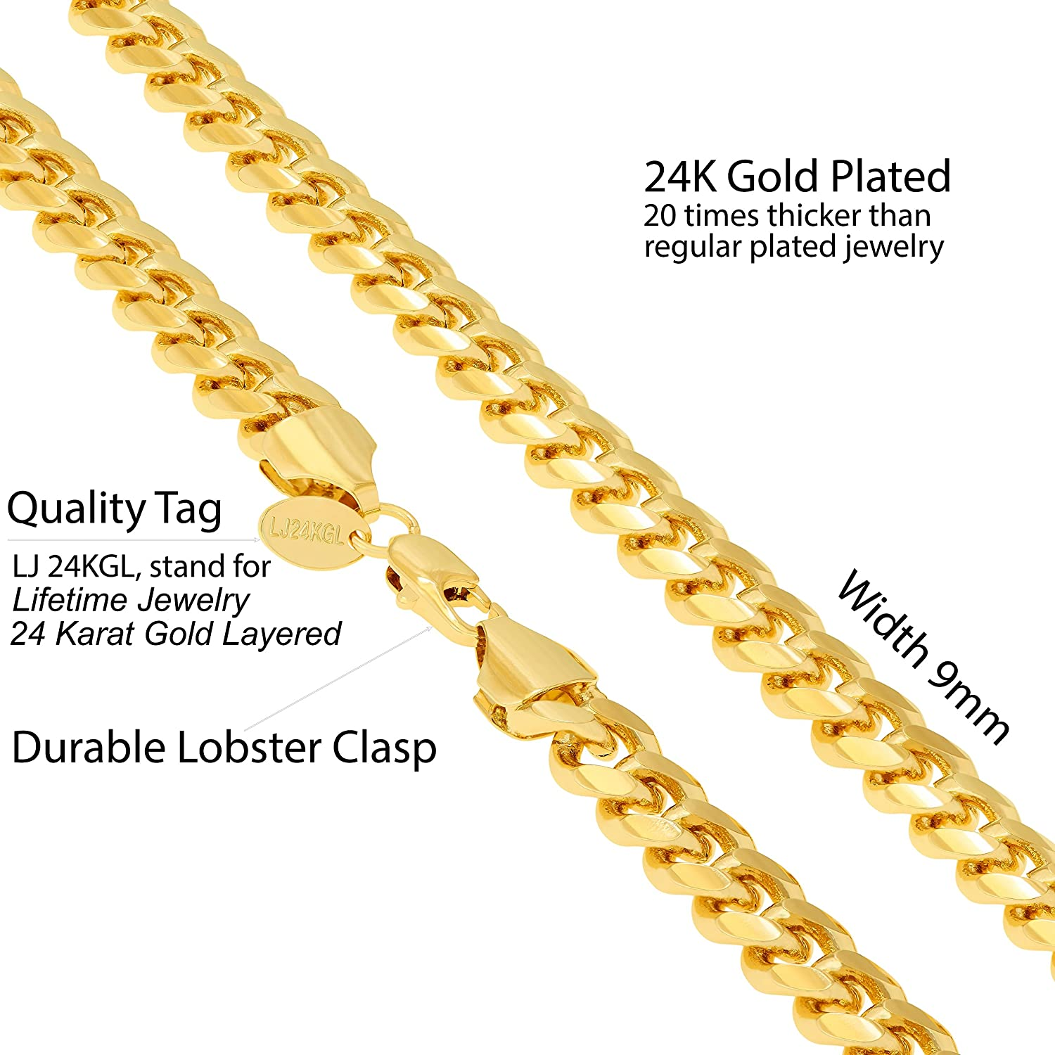 40ee8edac4a0b Lifetime Jewelry Necklace Chain [ 9mm Cuban Link Chain ] up to 20X More 24k  Plating Than Other Gold Chains - Durable Necklaces for Men with Lifetime ...