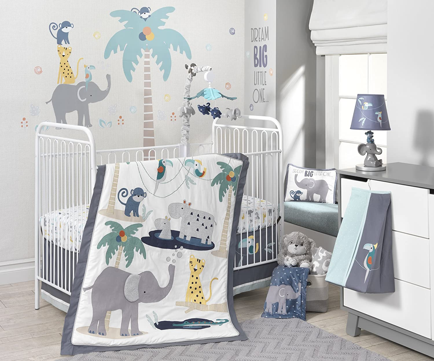 Gray//Blue Lambs /& Ivy Animal Crackers Jungle Blanket