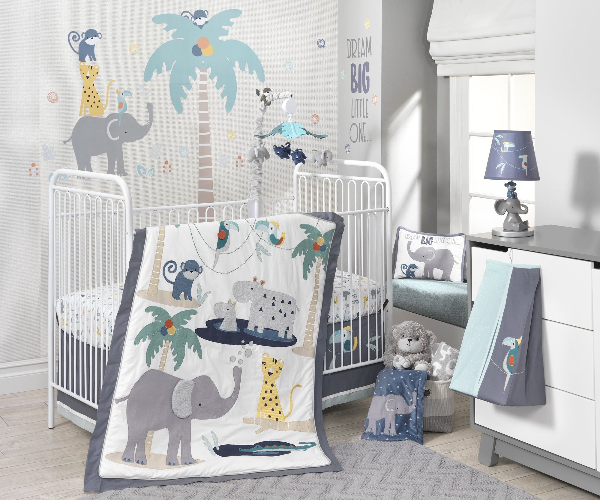 Lambs & Ivy Animal Crackers Jungle 4 Piece Crib Bedding Set, Gray/Blue