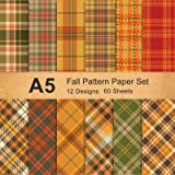 Whaline Fall Plaid Glossy Pattern Paper Pack 12 Designs Orange Brown Green Plaid Craft Paper Bulk A5 Size Double-Sided Origam