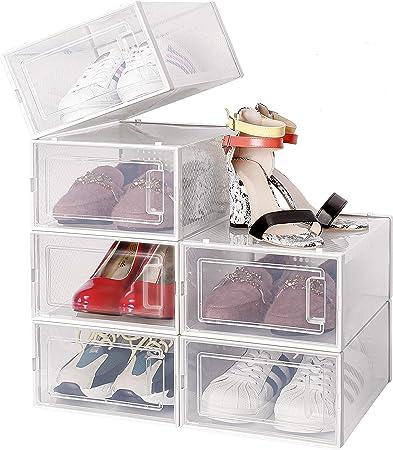 Amzdeal Cajas de Zapatos Plásticas 6 Pcs - Organizador de Zapatos Duradero y Apilable, 100% Impermeable, Caja de Almacenamiento Plegable, Más Ordenado, para Zapatos de Hombres y Mujeres 35*25*18.7cm: Amazon.es: Hogar